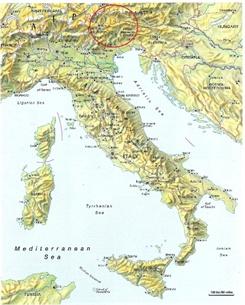 Dolomites Mountains Map on