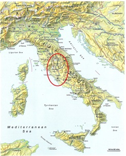 Map Of Italy With Mountains.A 258 Km Walk From Assisi To Rome 2 Central Italy Cammino Of St